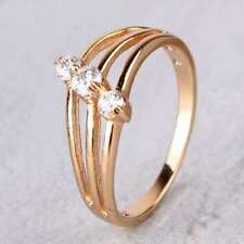 Womens Girls 3 Stone White Topaz Yellow Gold Filled Fashion Engagement ring sz 6