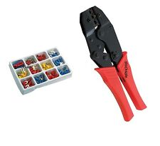 """9"""" CRIMPER RATCHET CRIMPING PLIER & 100PCS ASSORTED INSULATED WIRE TERMINALS"""