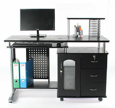 Charles Jacobs COMPUTER DESK+Keyboard Shelf in Black,NEW Home/Office Furniture