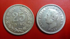 EL SALVADOR SILVER COIN 25 Centavos,  KM 136  XF+  1944