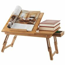 Portable Bamboo Folding Tray Laptop Notebook Computer Bed Table Book Drawer New