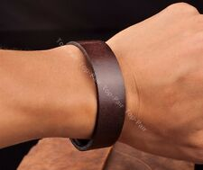 Cool Mens Single Band Surfer Genuine Leather Bracelet Wristband Cuff Brown 1.6CM