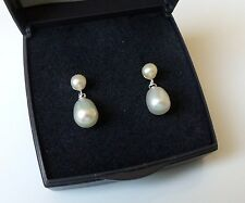 Fine 925 Sterling Silver White Freshwater Pearl Drop Earrings.