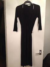 Ladies Atmosphere Black Wrap Jersey Dress With 4 Tie Plait Belts -Size 8, EUR 36