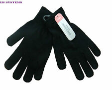 2x PAIR MAGIC WINTER WARM THERMAL GLOVES STRETCH BLACK