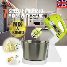 ELECTRIC 7 SPEED HAND MIXER CAKE DOUGH FOOD MAKER BEATER AND STAND