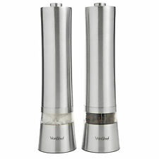 VonShef 2 x Electric Salt & Pepper Mill Grinder Electronic Set Stainless Steel