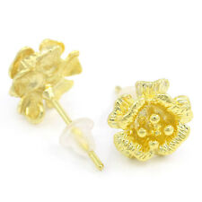 "10 PCs Copper Earring Post Flower Gold Plated 17mmx10mm(5/8""x3/8"")"