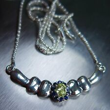 Natural lemon yellow chrysoberyl & blue sapphires 925 Sterling Silver necklace
