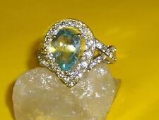Blautopas Zirconia Solitär Ring 585 er Gold + Silber