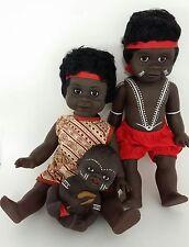 "Australian Aboriginal Doll Girl Yellow Dress, Boy Black 35cm or 13"" and Baby 6"""