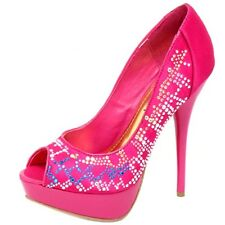 Sz 5.5 Pink Satin Open Toe Studded Ladies Pump Party Evening Stilleto High Heels