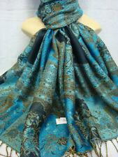 2PLY THICK PASHMINA PAISLEY DESIGN TURQUOISE COLOR WRAP OR SCARF