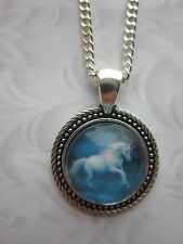 Unicorn horse glass cabochon vintage Necklace fancy lucky silver plated