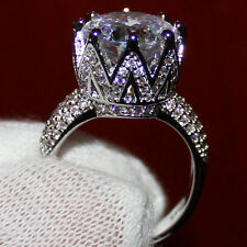 Amazing 8ct CZ White Topaz Zircon 925 std CROWN Platinum Plated Ring Size N
