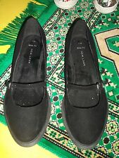 Nearly New Black Suede Feel Mary Jane shoes from New Look - size 7 wide fit