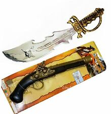Captain Jack Pirate Sword and Pistol Fancy Dress Costume Plastic Toy Prop