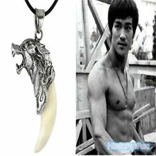 Mens White Wolf Tooth Necklace Tibetan Silver Pendant Fashion Jewellery UK Sell