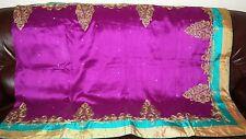 New Designer Purple Gold Silk Saree Sari Party Wedding Bridal