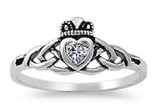 Genuine 925 Sterling Silver Clear Zircon Claddagh Celtic Knot Heart Ring Size 5