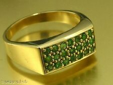 R153 Genuine 9ct 9K Solid Yellow Gold NATURAL Emerald Pave Ring Mens size U