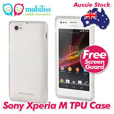 TPU Gel iSkin Jelly Case Cover Skin Screen Protector for Sony Xperia M - Clear