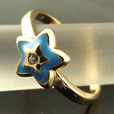 A387 GENUINE REAL 18CT YELLOW G/F GOLD DIAMOND SIMULATED BLUE ENAMEL STAR RING