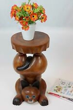 Wooden Handstand Cat plant lamp stand side end table stool hand carved Acacia