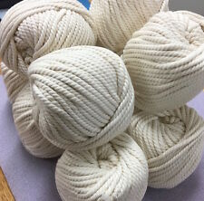 CREAM Macrame Cotton Natural Rope - 3-4mm thick 3 ply for wall art/macrame/looms