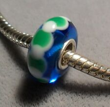 GREEN AND WHITE ON BLUE S/S MURANO GLASS BEAD