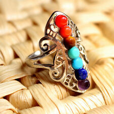 Free 7Color Mix Natural stones Chakra Reiki Healing Hollow Tibetan silver Rings