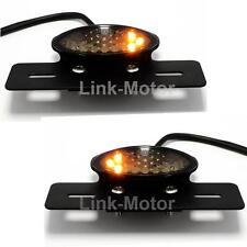 BLACK UNIVERSAL MOTORCYCLE LED REAR TAIL BRAKE INDICATOR LIGHT NUMBER PLATE LAMP