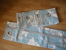 """NEXT CURTAINS CORNFLOWER COUNTRY FLORAL POWDER BLUE EYELET LINED  53X90"""""""
