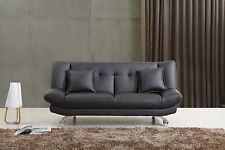 Black Leather Sofa Bed Only £145, 2 Free Cushions