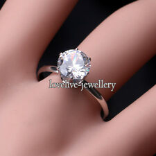 Adjustable Silver Plated CZ Crystal Engagement Wedding Ring Women Jewelry Gift
