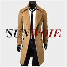 UK Mens Camel Wool Long Covert Overcoat Warm Winter Mod Cromby Coat Jacket XXL