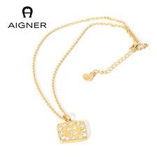 Aigner exklusiv, Halskette, 24 K vergoldet,mit hochw. Steinen besetzt,Anhänger