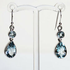 925 Silver Semi-Precious Faceted Blue Topaz Drop Earrings