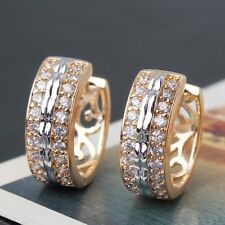 Magnificent 18K Gold Platinum filled promising white sapphire Huggie earring