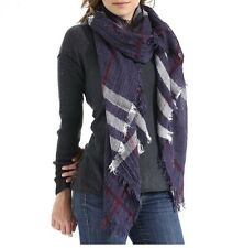 Navy and Multi Colored Plaid Fashion Scarf