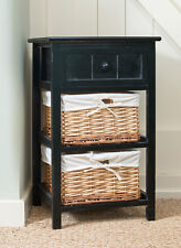 Brand New Black Shabby Chic Tall Bedside Unit with Wicker Storage Drawers