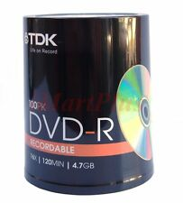 100 TDK DVD-R Pack 4.7GB Blank Recordable Discs 16X New