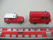 H357-0,5# 2x WIKING H0 608 Mercedes-Benz MB 406 Binz, 230 G, Feuerwehr, NEUW