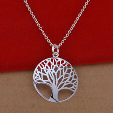 Lady's Fashion Silver Plated Chain Jewelry Tree Of Live Pendant Necklace
