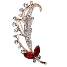Cute Gold Plated Red Rhinestone Crystal Feather Leaf Brooch pin Women Jewelry