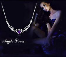 Colier Silber Glücksbringer Engel Halsketten Herz Anhänger Flügel Schutzengel