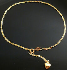 9ct Gold FINE Singapore Anklet with Heart AB10