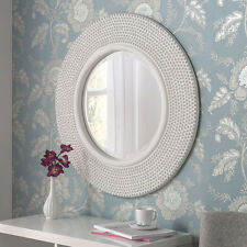 """Rome Large Modern Round White Studded Frame Art Deco Wall Bevelled Mirror 31"""""""