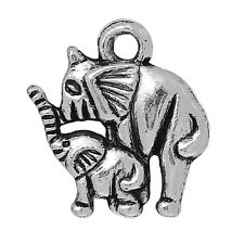 ❤ 10 x Tibetan Silver MOTHER & BABY ELEPHANT Charm 15mm Jewellery Making ❤