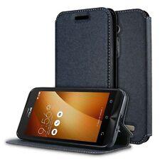 Flip Wallet Leather Magnetic Card Case Cover for Asus Zenfone Go ZB500KL Black